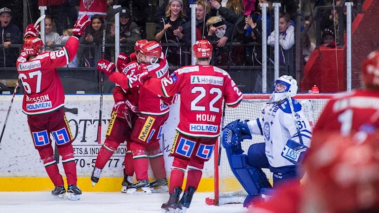 Modo jublar efter att Sam Marklund gjort 4-3 på övertid i matchen mot Leksand i september. Foto: Erik Mårtensson/Bildbyrån