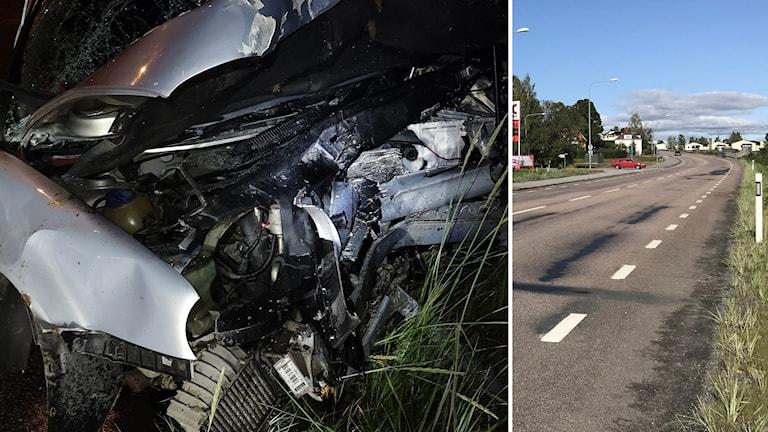 """Bildkollage. Till vänster: Fronten helt intryckt och söndertrasad på ett av de fordon som var inblandade i olyckan i Kramfors där fem unga skadades svårt. Misstanke finns om lek, sk """"chicken race"""". Till höger: Raksträckan på riksväg 90 där olyckan inträffade. Foto: Räddningstjänsten Höga kusten-Ådalen och Sveriges Radio"""