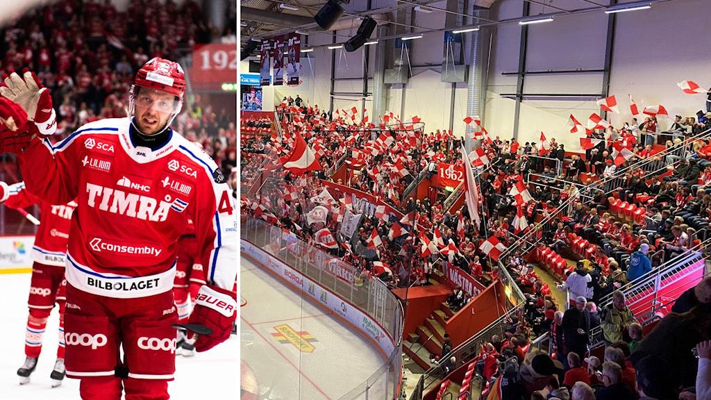Hockeykille och hockeyarena, allt är röd-vitt