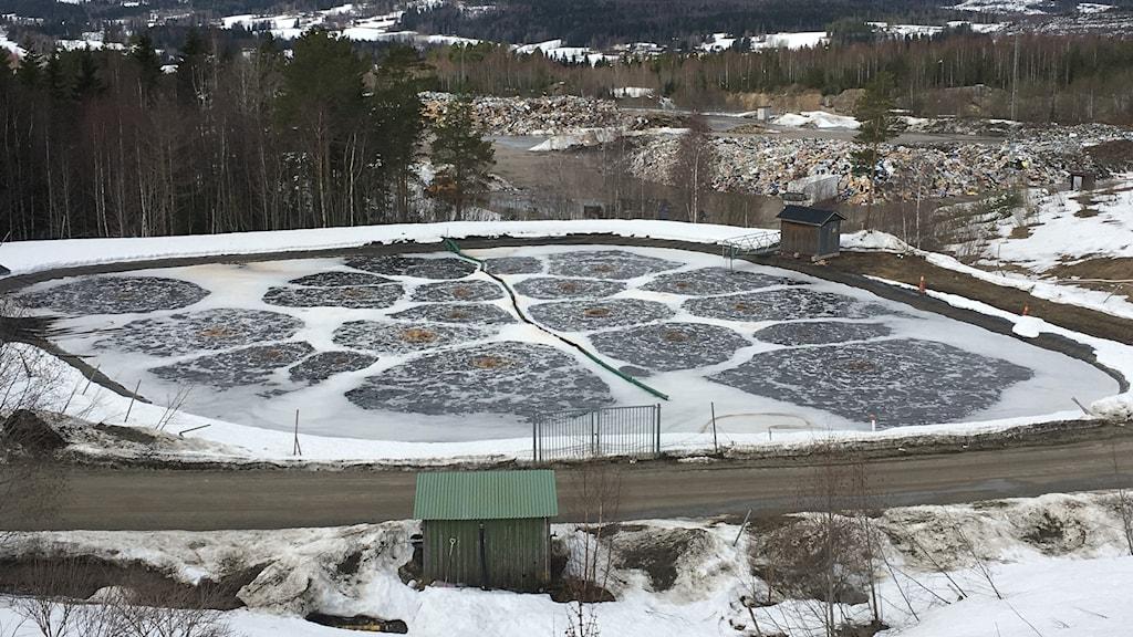 Lakvattendamm på Blåbergets avfallsanläggning