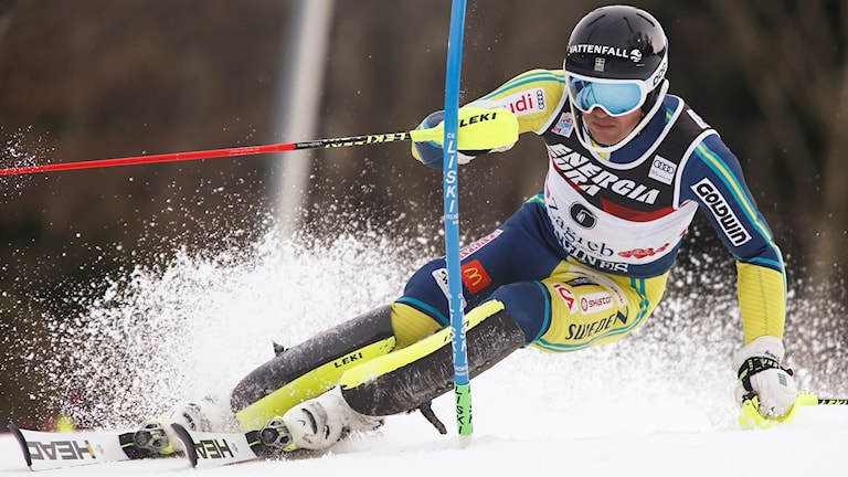 Sweden's Andre Myhrer competes during an alpine ski, men's World Cup slalom in Zagreb, Croatia, Thursday, Jan. 4, 2018.