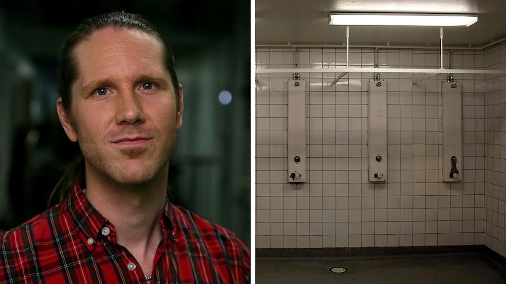 Bildkollage. Kurator Olle Granath och duscharna i killarnas omklädningsrum. Foto: Erik Amkoff/UR och Anna Ahlström/Sveriges Radio