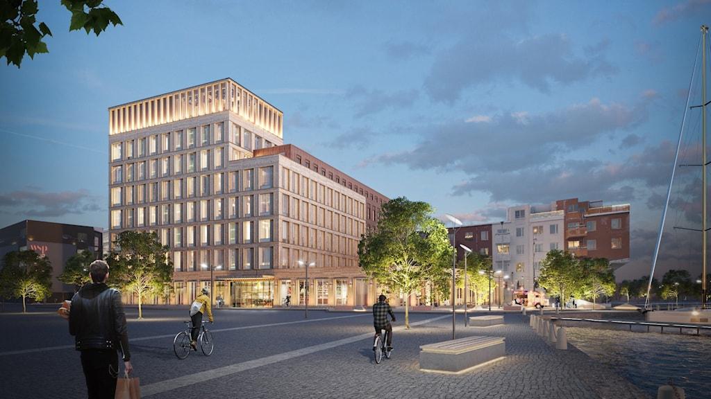 Skiss på det klimatneutrala huset som planeras i Sundsvall.