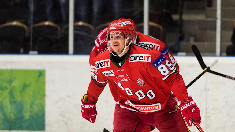 Modos spelare Patrik Karlkvist firar vinsten mot Tingsryd i Hockeyallsvenskan 2018-10-05
