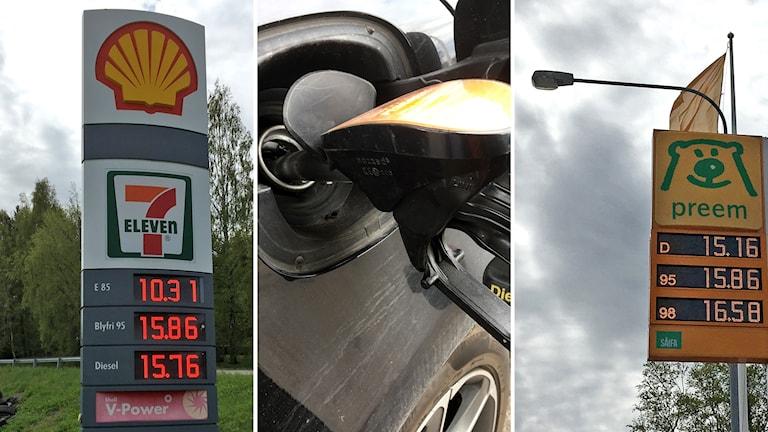 Bildkollage. Till vänster: Skylt med literpriset hos Shell 95 oktan 15.86, diesel 15.76. Mitten: Närbild när en svart bil tankas. Till höger: Skylt med bränslepriser hos Preem. 95 oktan 15.86 och diesel 15.16. Foto: Ann-Charlotte Carlsson/Sveriges Radio