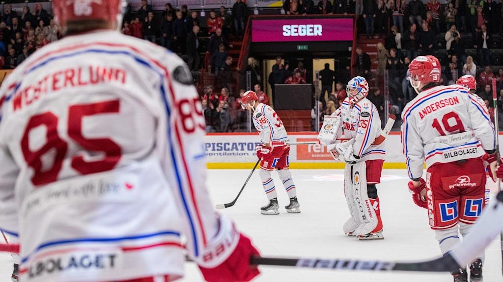 Timrås målvakt Sami Rajaniemi deppar efter ishockeymatchen i SHL mellan Örebro och Timrå den 14 oktober 2021 i Örebro.