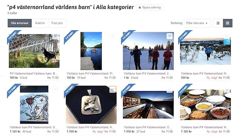 Bild på auktioner som ligger uppe på sajten tradera till förmån för Världens barn.