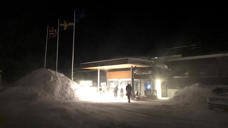 Snöstorm på Hallstaberget i Sollefteå