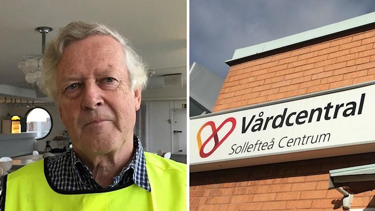Nils-Gunnar Molin och skylten till Voons vårdcentral i Sollefteå