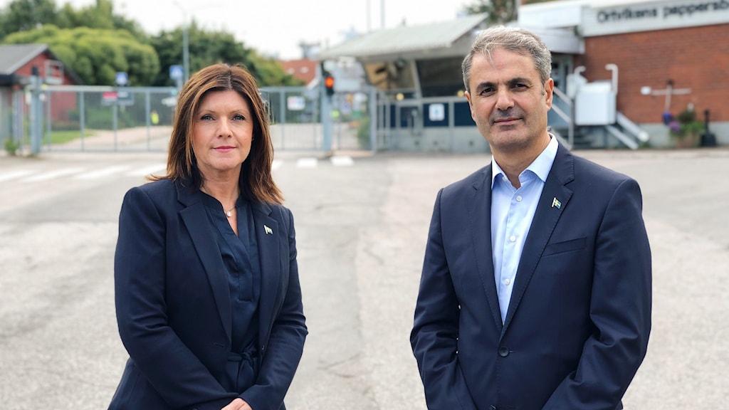 Porträtt av arbetsmarknadsminister Eva Nordmark och näringsminister Ibrahim Baylan som besöker Sundsvall idag.
