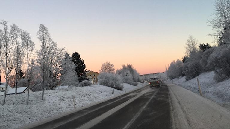 Bilar kör på rikväg 90 som saknar belysning på sträckan. Foto: Anton Kårén/Sveriges Radio
