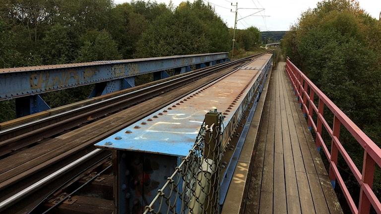 En smal träbro löper längs med järnvägsspåret i Granlo. Foto: Christer Jonasson/Sveriges Radio