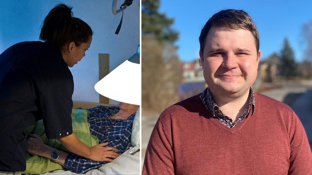 Undersköterska hjälper en äldre sängliggande kvinna på ett vård- och omsorgsboende. Niklas Säwén (s) ordförande barn- och utbildningsnämnden i Sundsvall