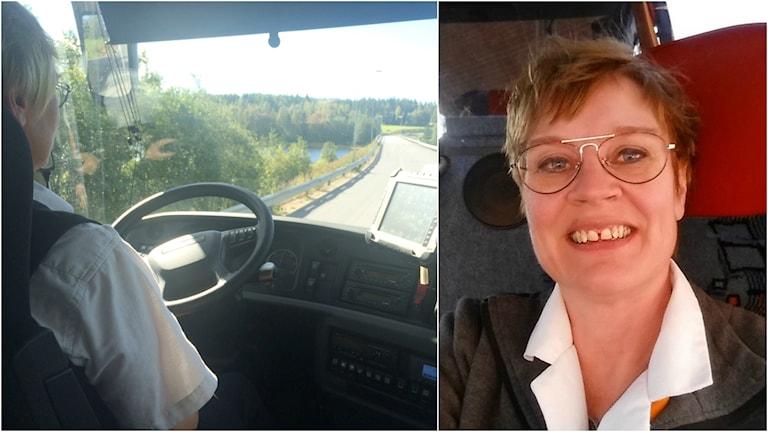 Ann Enström sitter och kör buss och har ett leende på läpparna.