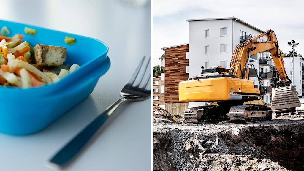 Bildkollage. Till vänster: En matlåda med öppet lock. Till höger: En grävmaskin vid ett bostadsbygge.