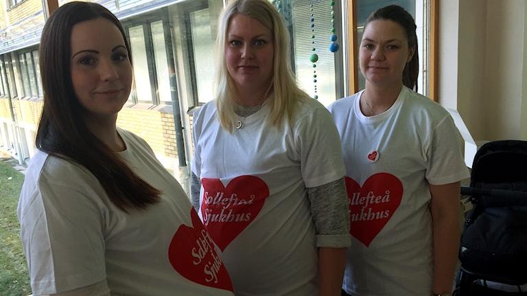 Tre gravida kvinnor med i ockupationen av Sollefteå sjukhus. Foto: Pether Öhlén/Sveriges Radio