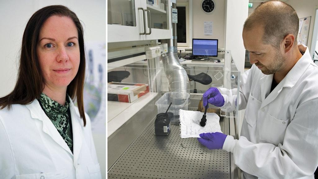 Therese Viksten gruppchef på NFC i Sundsvall, och en bild på en man som gör ett test inne på ett laboratorium.