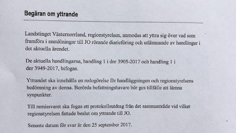 JO:s begäran om yttrande från regionstyrelsen. Foto Ulla Öhman