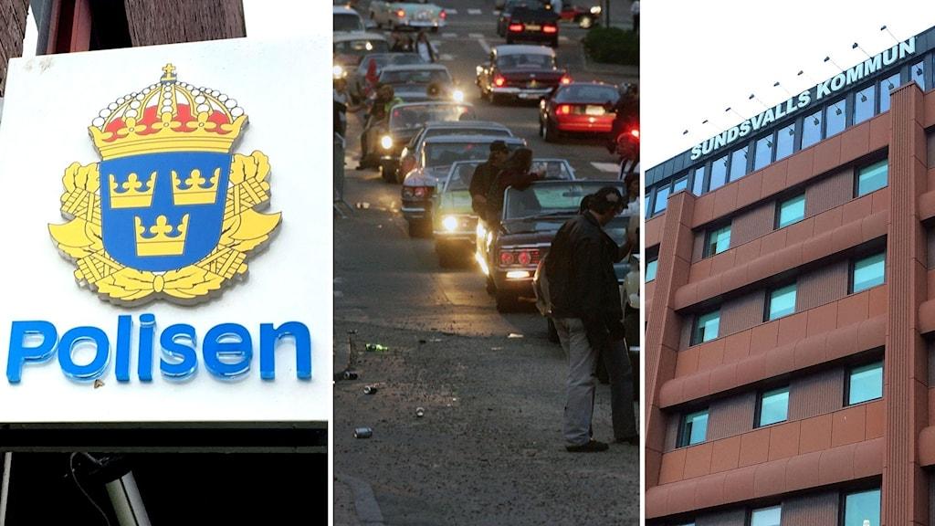 Tredelad bild på en skylt där det står polisen, en bilträff och Sundsvalls kommunhus.