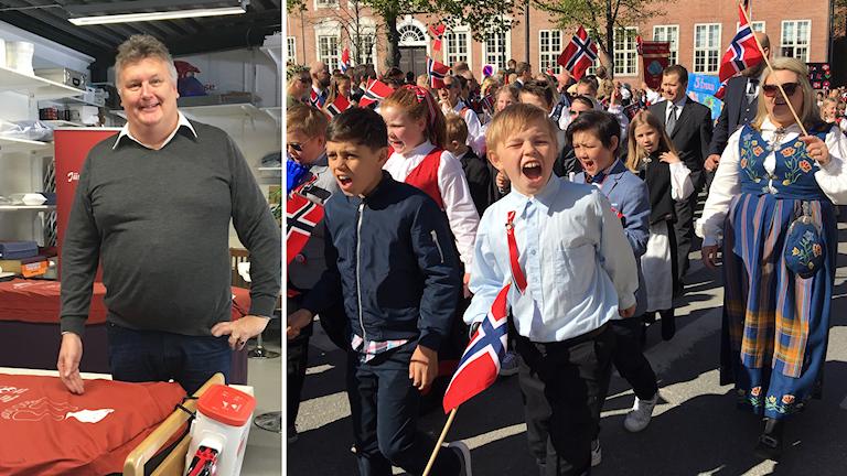 Bildkollage. Till vänster: Göran Nordin, vd på Järven Healt Care i Örnsköldsvik. Till höger: Skolbarn i Tronheim går i parad och viftar med flaggor under 17 maj 2019. Foto: Ulla Öhman/Sveriges Radio