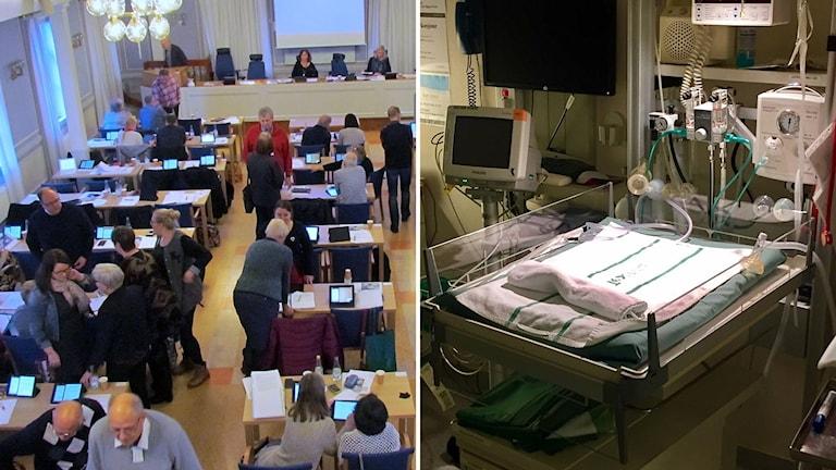 Bild från fullmäktigesalen och bild på akutplats för nyfödda på BB i Sollefteå. Foto: Sveriges Radio