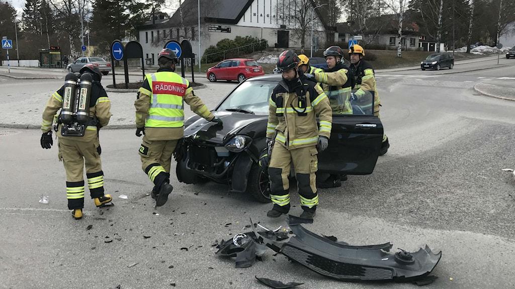 Mopedbil efter kollision.