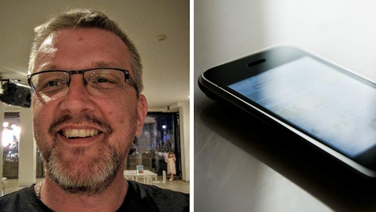 Urban Eriksson har kort skäggstubb, kort hår och glasögon med tunna bågar. Bredvid honom ser man en annan bild föreställandes en telefon.