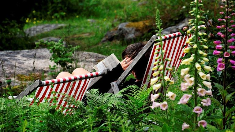 Kvinna sitter i en solstol och läser en bok. Foto: Hasse Holmberg/TT