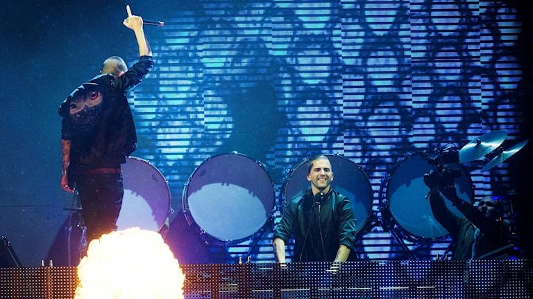 Svenska DJ-duon Galantis när de uppträdde på Bråvallafestivalen. Foto: Izabelle Nordfjell/TT