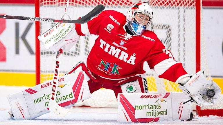 Timrås målvakt Henrik Haukeland räddar skott.. Foto: Pär Olert/Bildbyrån