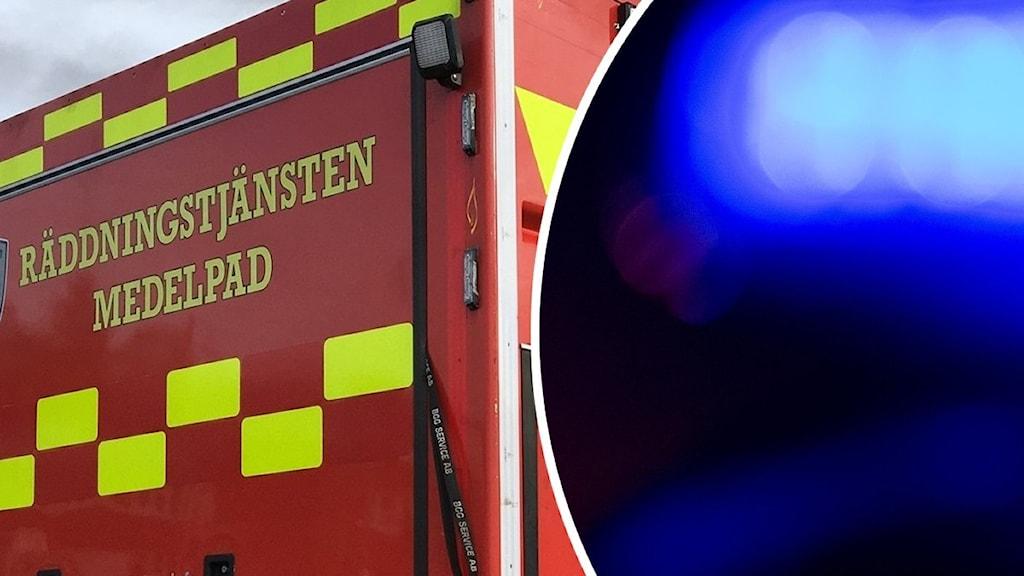 En röd brandbil som tillhör räddningstjänsten Medelpad och blinkande blåljus.