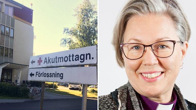 Bildkollage med skylt mot akutmottagningen på Sollefteå sjukhus och biskop Eva Nordung Byström. Foto: Sveriges Radio och Kerstin Stickler