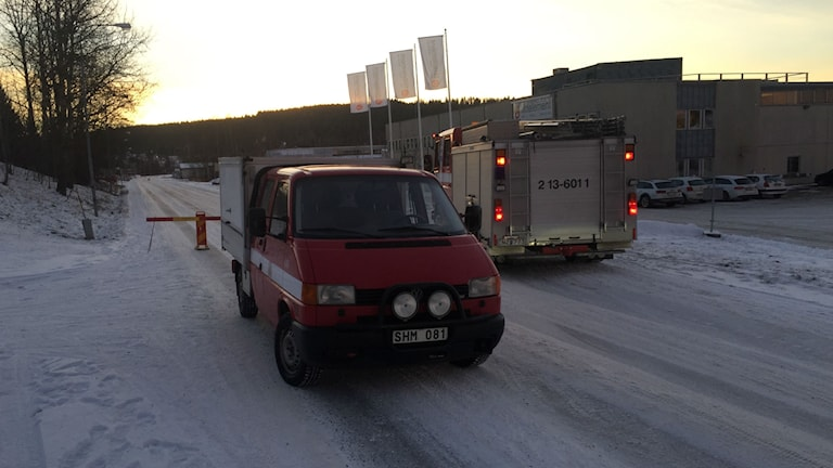 Avspärrning efter explosionsrisk i Örnsköldsvik. Foto: Viktor Åsberg/Sveriges Radio