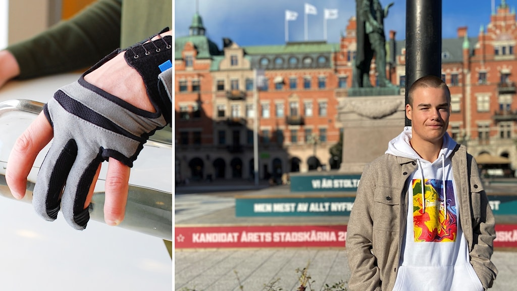 Handskklädd hand och bild på kille som står på ett torg (i Sundsvall)