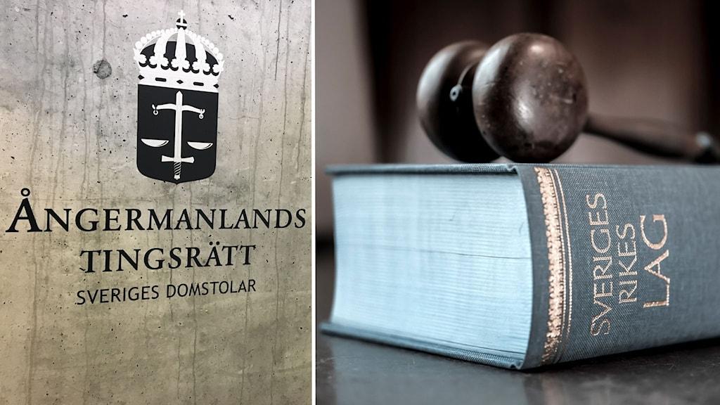 Ett foto på Ångermanlands tingsrätt och Sveriges lagbok. Foto: Peter Hansson/Sveriges Radio, Anders Wiklund/TT