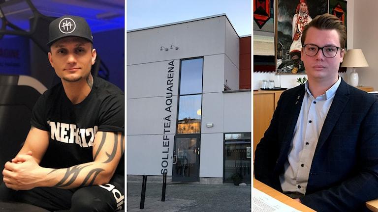 Bildkollage. Till vänster: Gymföretagaren Kawa Murad. I mitten: Fasaden på Sollefteå Aquarena. Till höger: Kommunalrådet i Sollefteå Johan Andersson (C). Foto: Annika Solander/Sveriges Radio