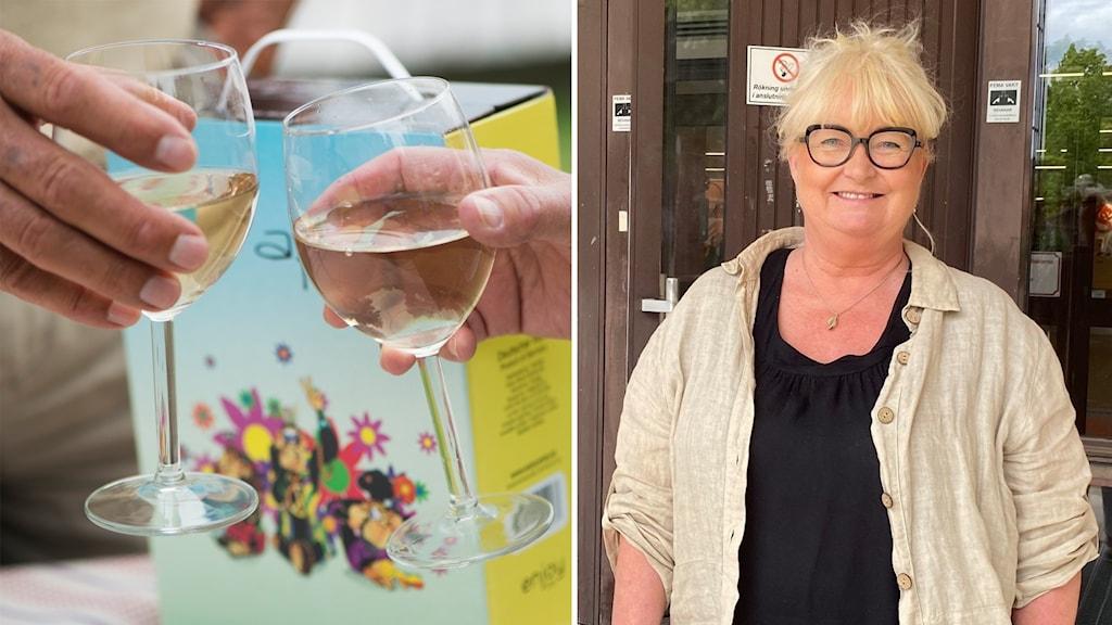 Delad bild där två personer skålar i vin och Ing-Britt Madsen som står utanför entrén till kommunhuset i Sundsvall.