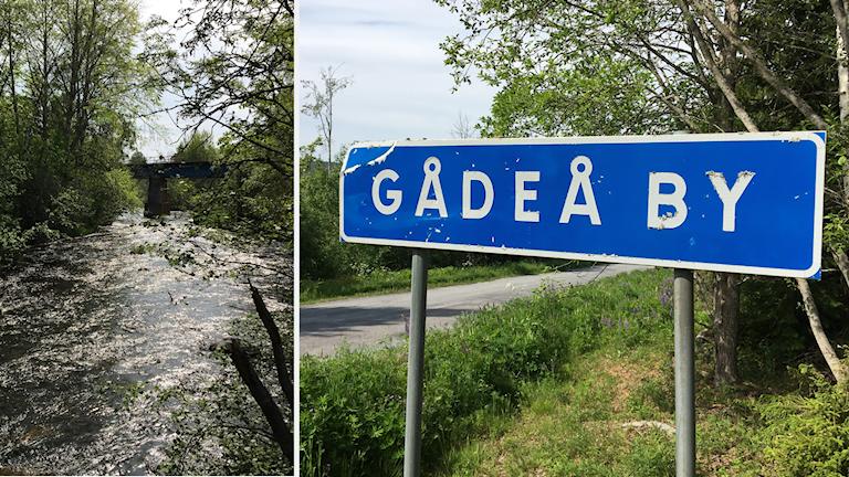En bild visar den glittrande Gådeån och en bild visar en vägskylt med texten Gådeå by.