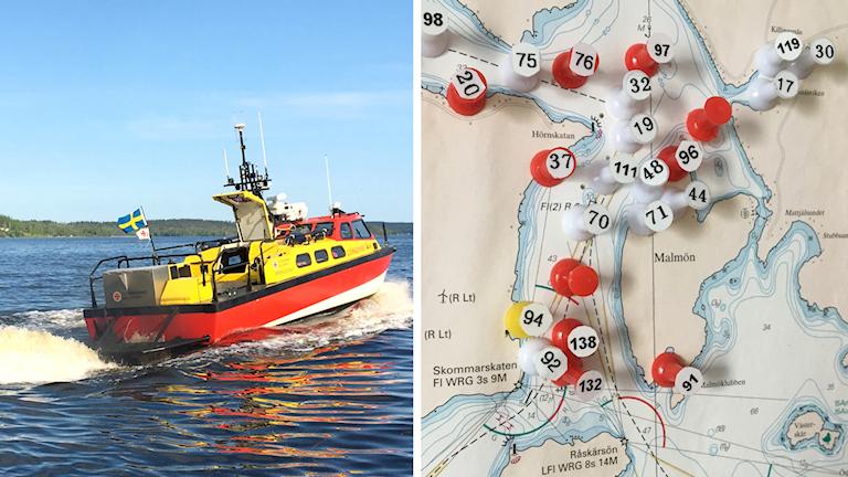 En delad bild som visar å ena sidan en av Sjöräddningssällskapets båtar i Örnsköldsvik på väg i hög fart över vattnet och å andra sidan en karta med nålar fastsatta där sällskapet gjort sina insatser de senaste åren. Många nålar sitter utanför Hörnskatan och nord och väst om Malmön.
