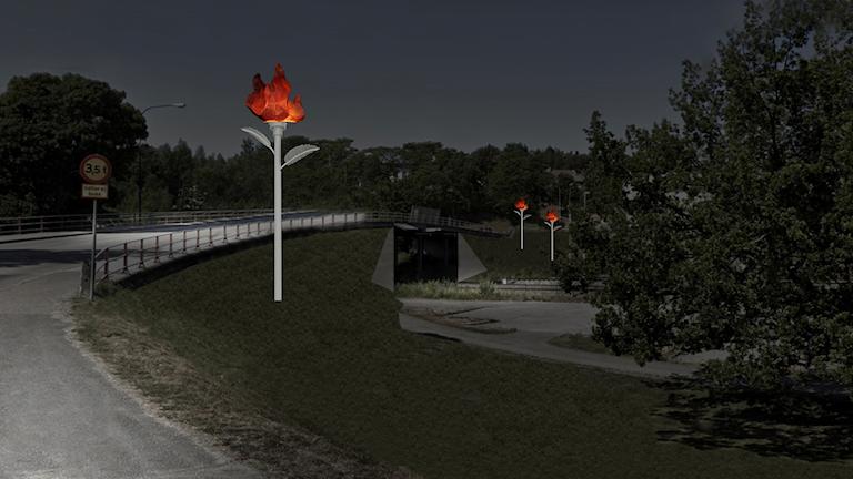 Skiss på de tre stora eldsblommor ska placeras på stolpar i rostfritt stål intill nya järnvägsbron. Skiss: Härnösands kommun