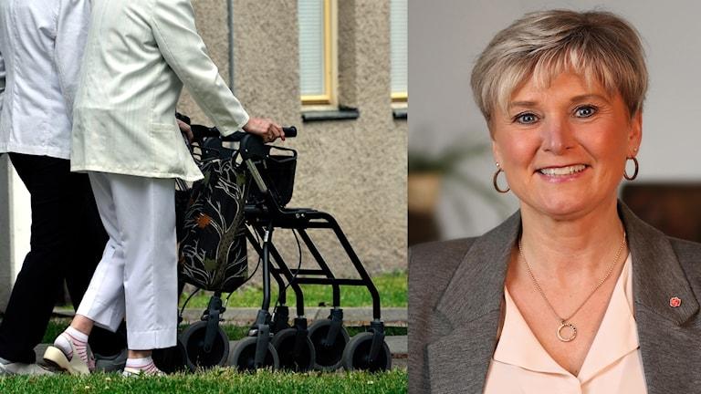 En bild med två personer på promenad, varav en har rullator. Bredvid en porträttbild på Anna-Bell Strömberg, osorgsnämndens ordförande i Örnsköldsvik.