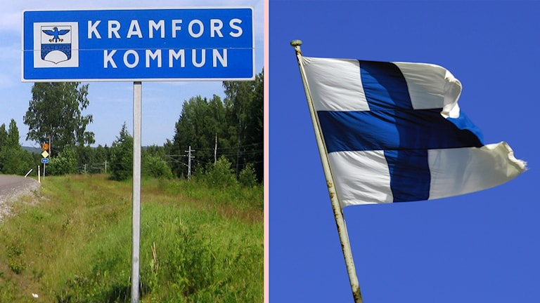 """Bildkollage. Till vänster en vägskylt med texten """"Kramfors kommun"""". Till höger en finsk flagga som vajar i vinden. Foto: Ulla Öhman/Sveriges Radio och Hasse Holmberg/TT"""