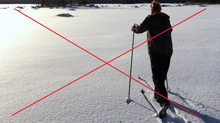 Kvinna åker skidor i gnistrande nysnö. Bilden är överkryssad med ett stort rött kryss. Foto: Alexander Arvidsson/Sveriges Radio