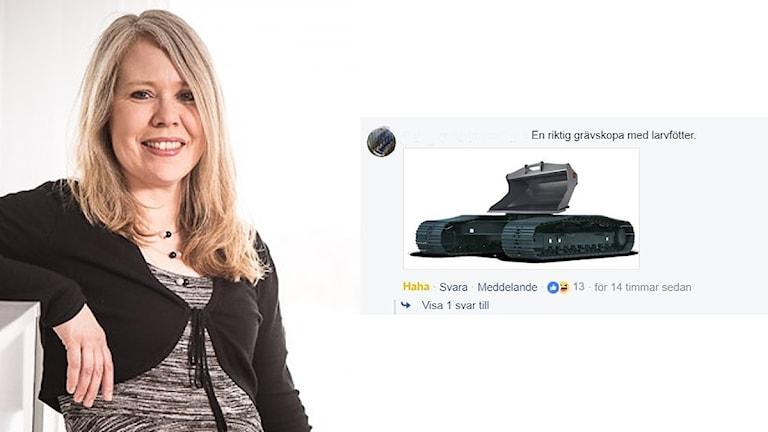 """Bildkollage med språkvårdaren Lotta Ederth, Sveriges Radio till vänster och bildmontage från P4 Västernorrlands facebooksida på en skopa fastsatt direkt på bandvagnsunderrede med texten """"En riktig grävskopa med larvfötter""""."""