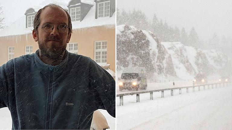 Bildkollage med Martin Neldén på länsstyrelsen och en väg med bilar i snöoväder.