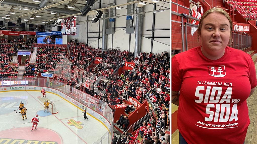 Kvinna med röd tröja står inne på arena och full arena