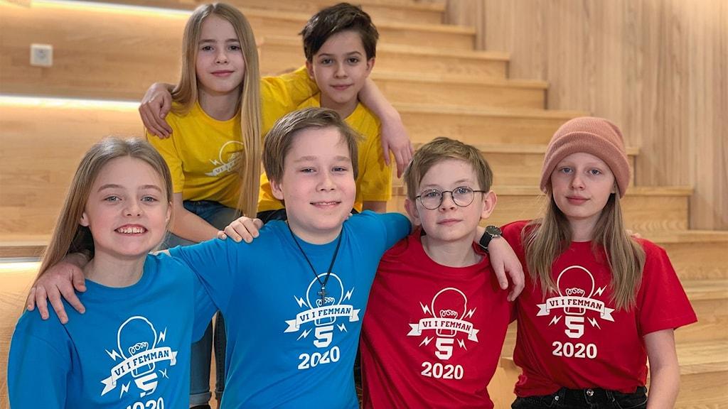 Gruppbild på de elever som ska delta i Vi i femmans riksfinal.