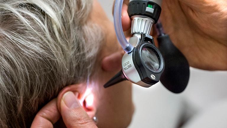 En äldre kvinna får sitt öra undersökt av en läkare. Foto: Claudio Bresciani/TT