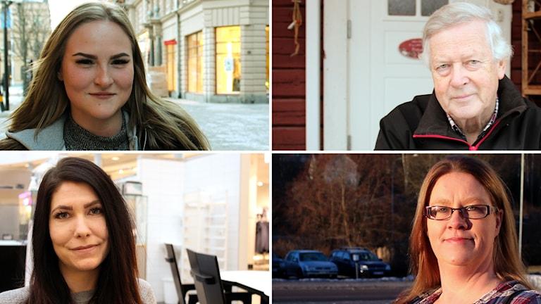 De nominerade till Årets Västernorrlänning: Therese Nyberg (övre vä), Nils-Gunnar Molin (övre hö), Terese Lundqvist (n vä), Agnetha Svedberg (n hö). Foto: Sveriges Radio
