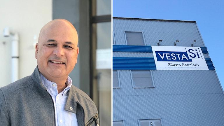 Bildkollage med vd Santosh Limaye och fasaden på kiselfabriken Vesta Si. Foto: Fredrik Birging/Sveriges Radio